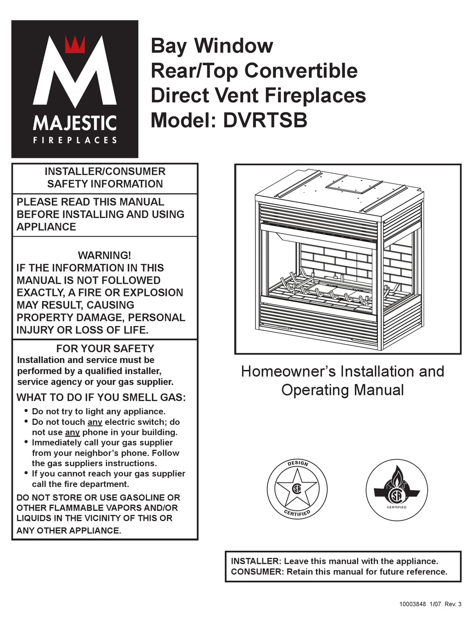 Majestic Fireplaces Dvrtsb Installation And Operating Manual Pdf Download Manualslib