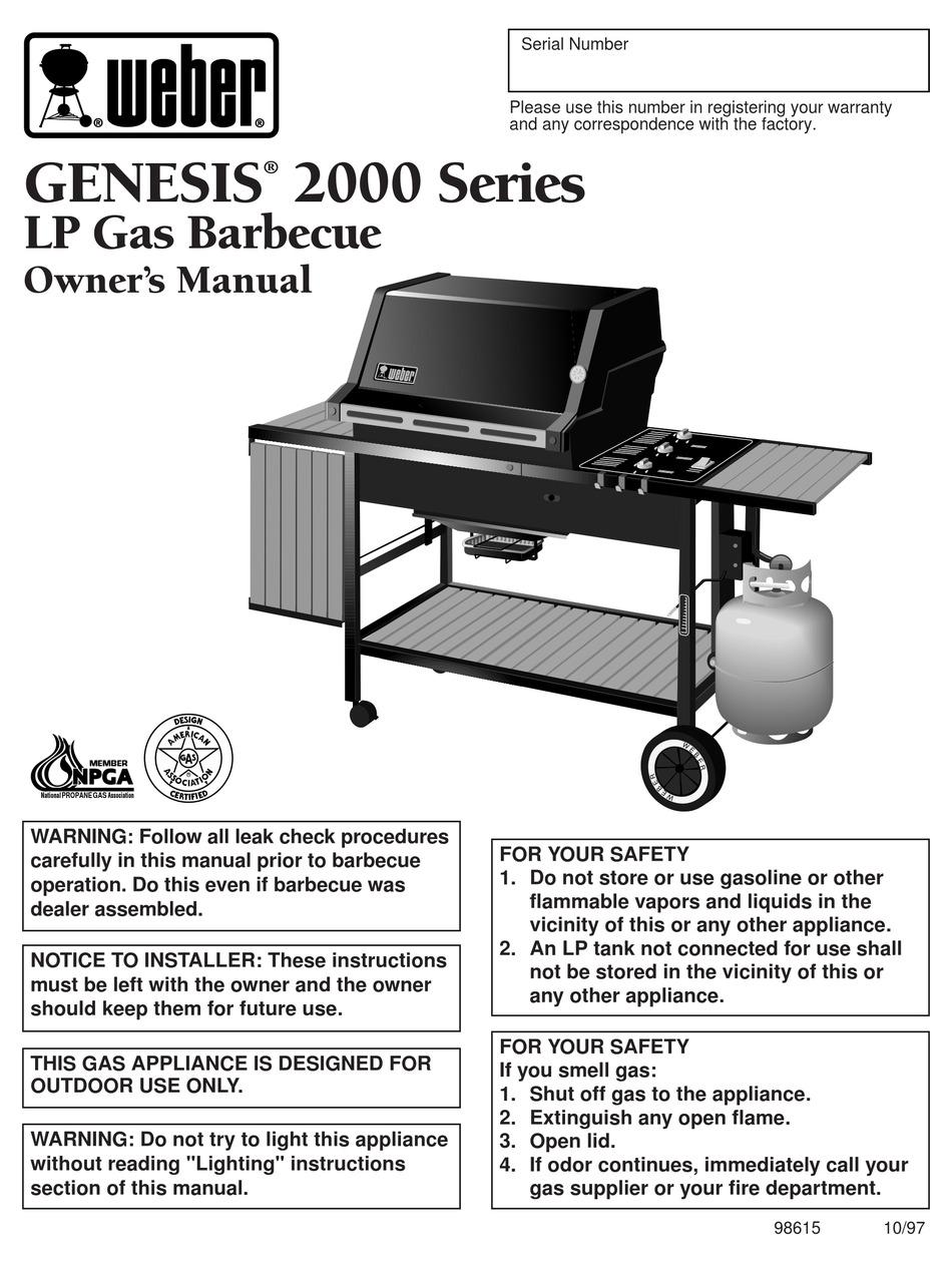 Weber Genesis 2000 Owner S Manual Pdf Download Manualslib