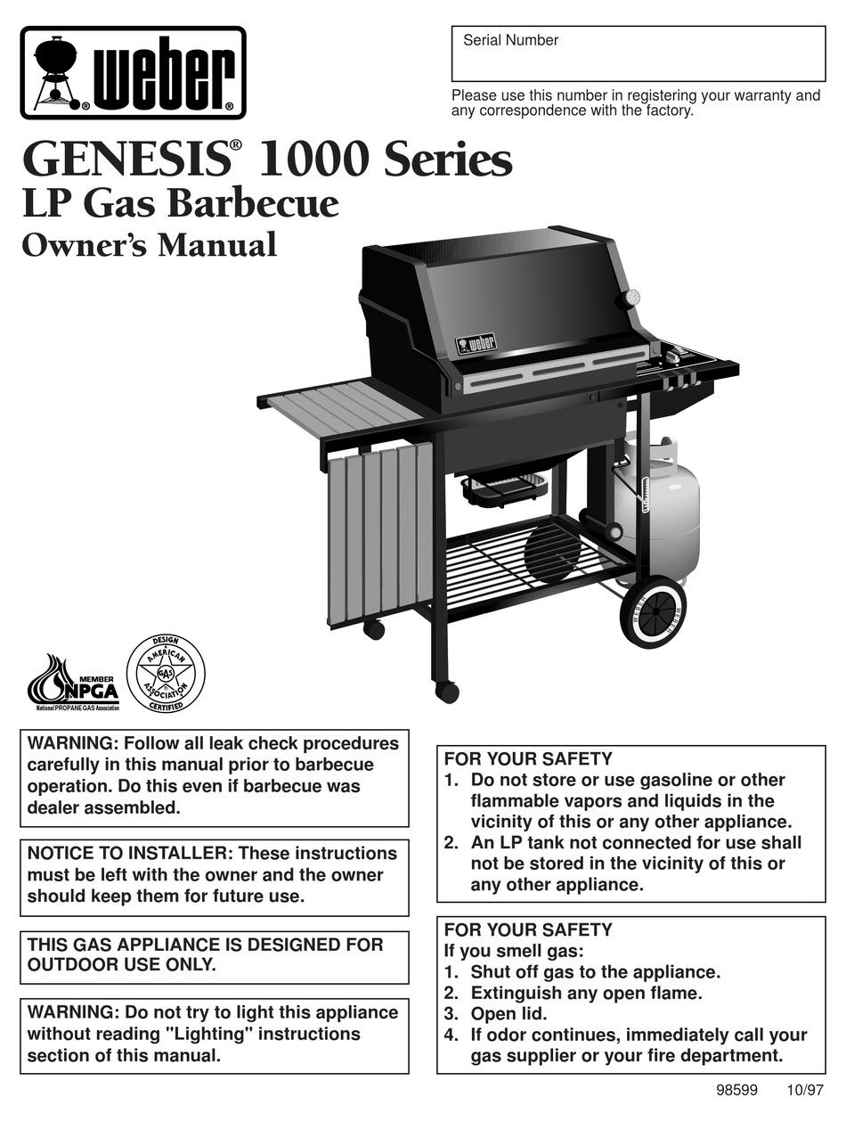 Weber Genesis Genesis 1000 Owner S Manual Pdf Download Manualslib