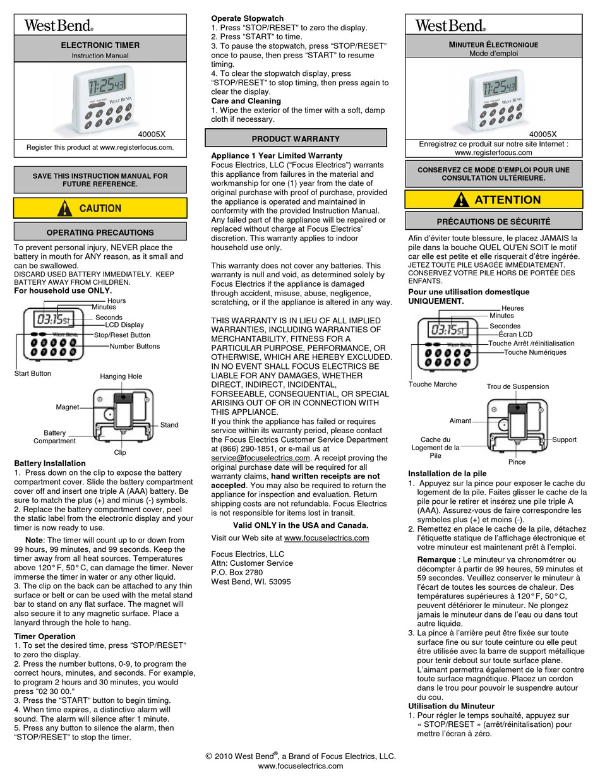 West Bend 40005x Instruction Manual Pdf Download Manualslib