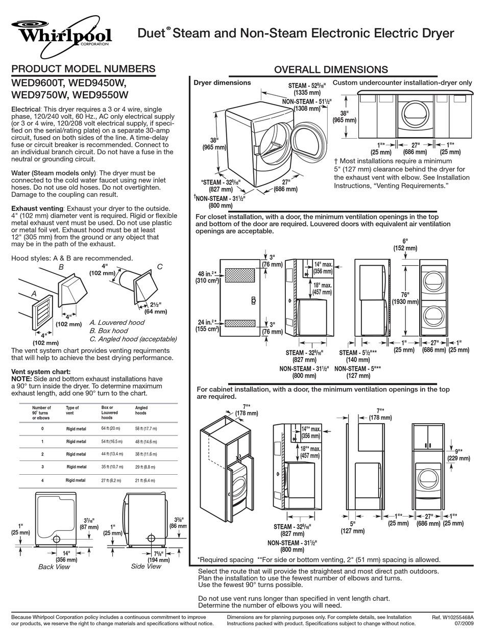 Whirlpool Duet Dryer Wed9400sw1 Manual EBook @ 706 ...