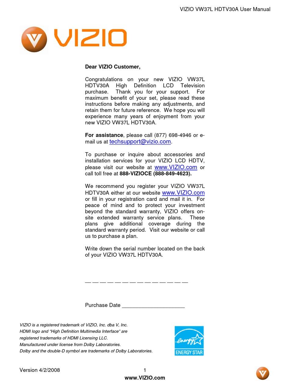 Vizio Vw37l User Manual Pdf Download Manualslib