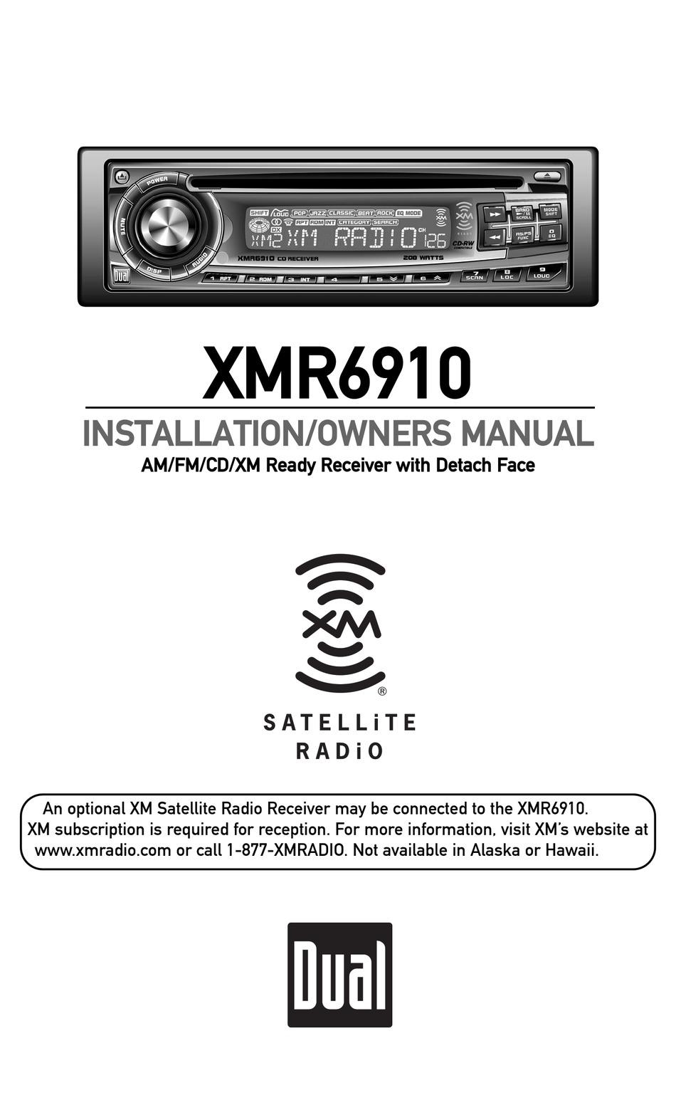 Xm Satellite Radio Xmr6910 Installation