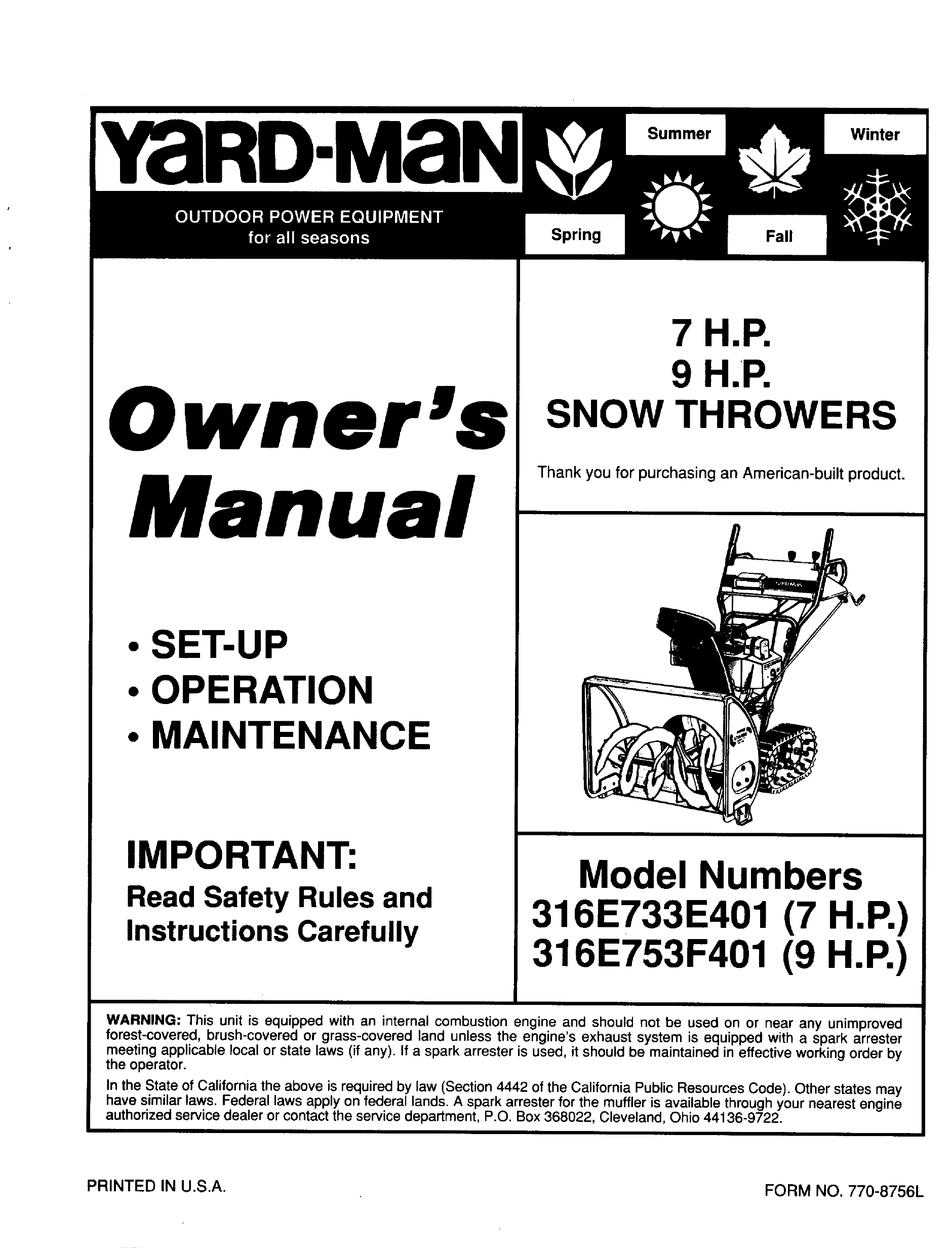 Yard Man 316e733e401 Owner S Manual Pdf Download Manualslib