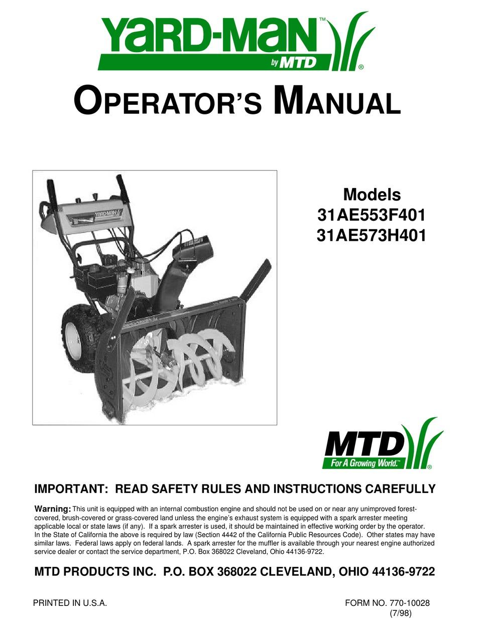 Yard Man 31ae553f401 Operator S Manual Pdf Download Manualslib