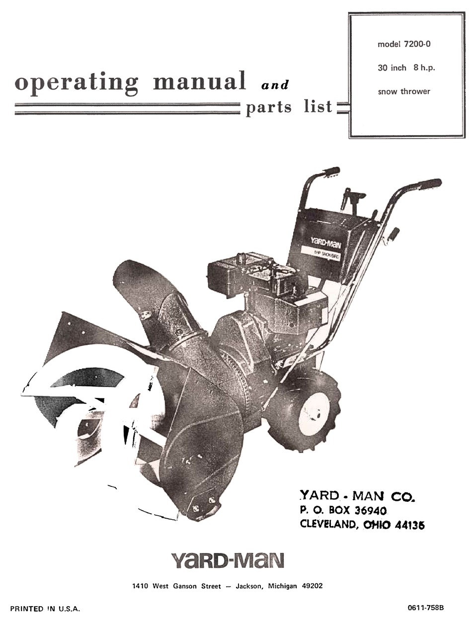 Yard Man 7200 0 Operating Manual And Parts List Pdf Download Manualslib