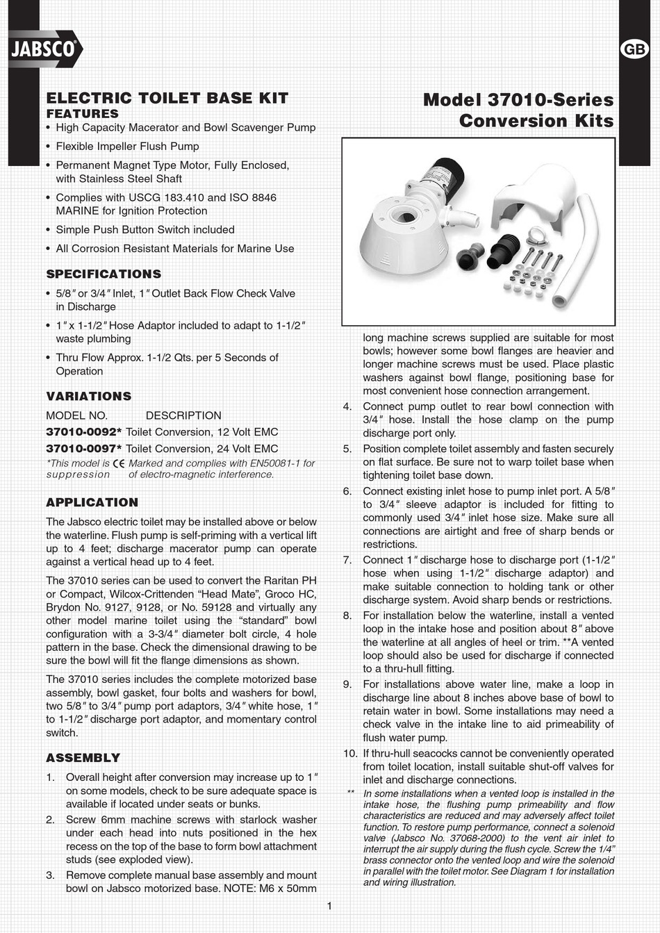 Sports & Outdoors Jabsco 37010-0092 Marine Manual to Electric ...