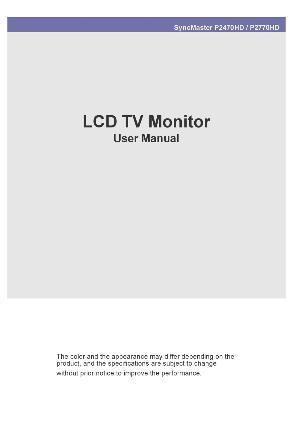 Samsung Syncmaster P2770hd User Manual Pdf Download Manualslib