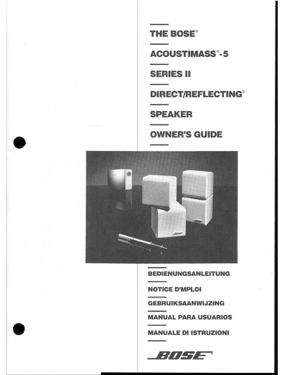 BOSE ACOUSTIMASS 5 SERIES II OWNER'S MANUAL Pdf Download | ManualsLibManualsLib