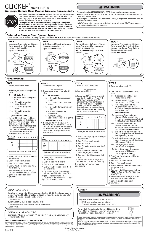 Chamberlain Clicker Klik2u User Manual Pdf Download Manualslib