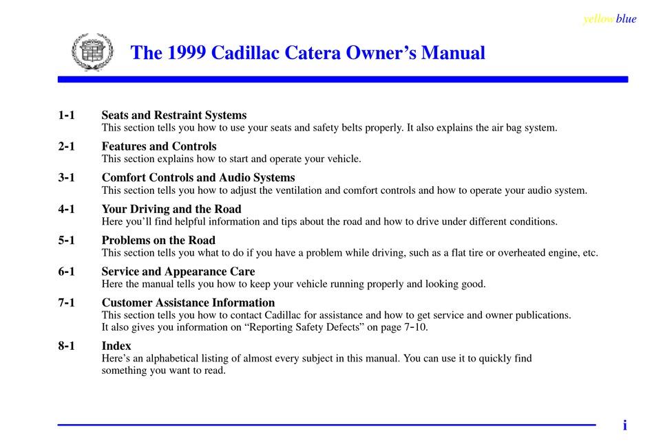 Cadillac 1999 Catera Owner S Manual Pdf Download Manualslib