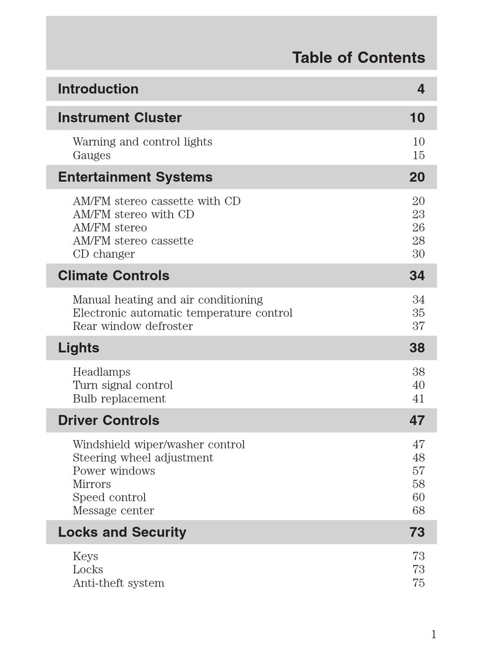 Ford 2004 Crown Victoria Owner S Manual Pdf Download Manualslib
