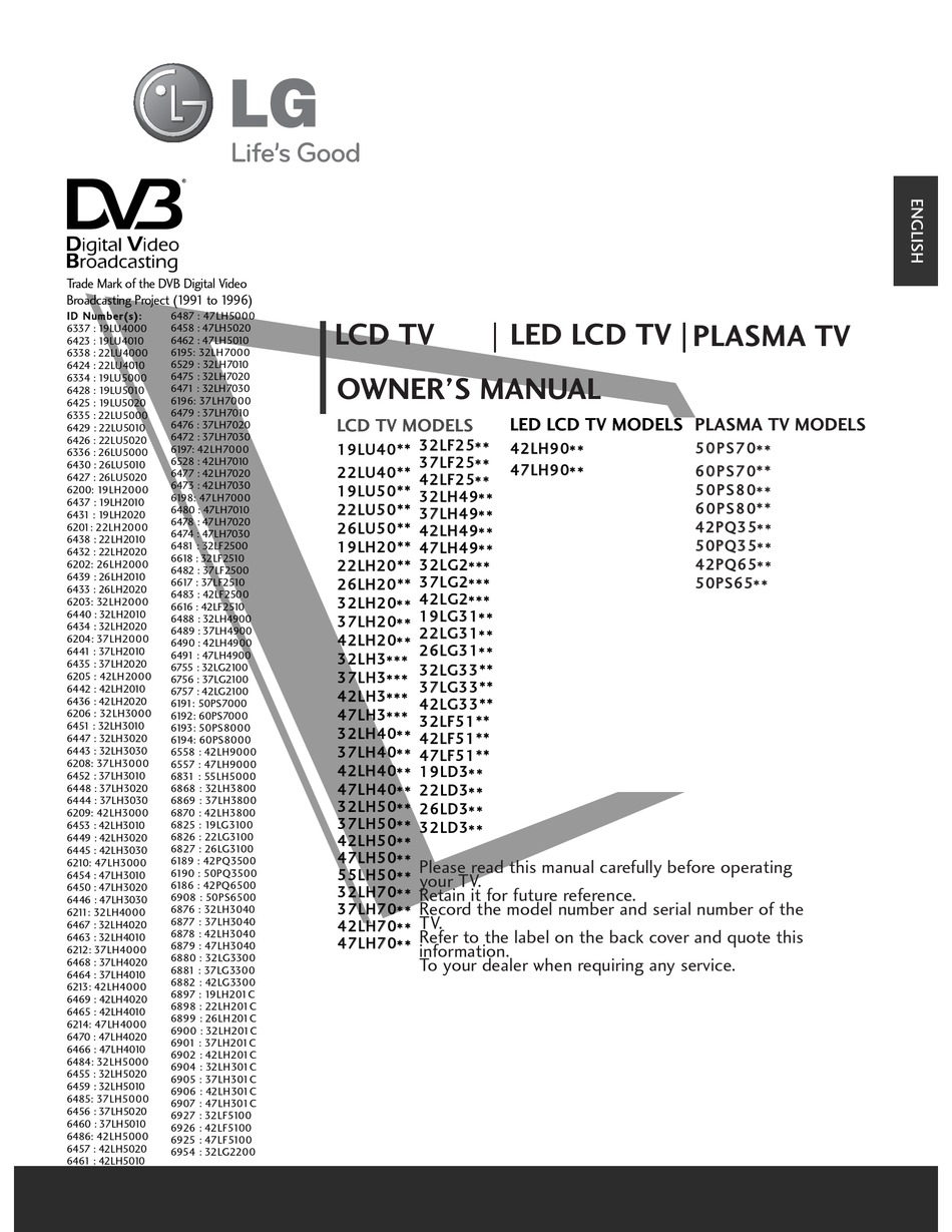 Lg 19lg3100 Owner S Manual Pdf Download Manualslib