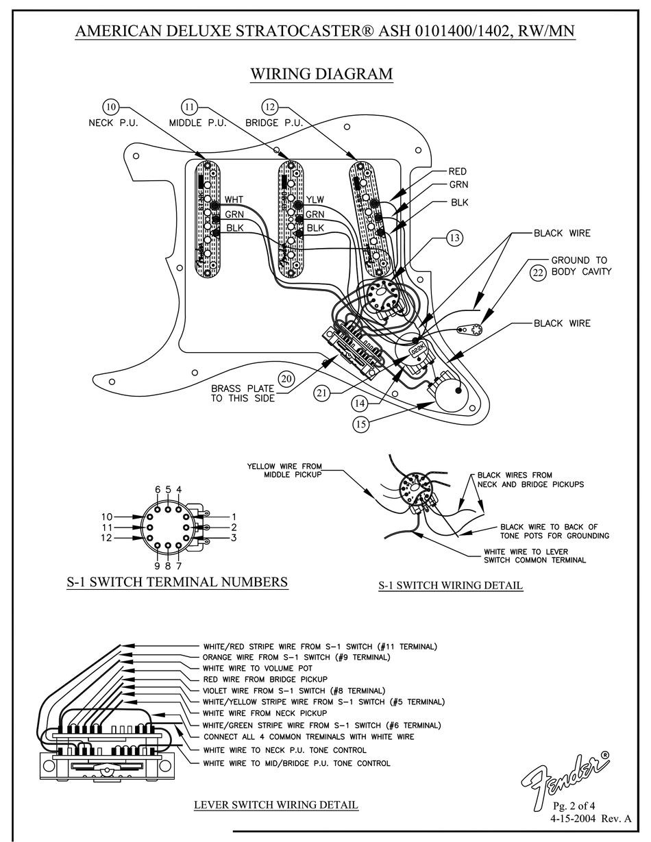 FENDER AMERICAN DELUXE STRATOCASTER WIRING DIAGRAM Pdf Download ...