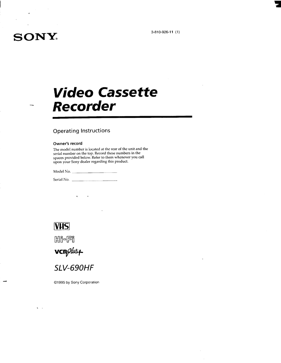 Sony Slv 690hf Primary Operating Instructions Manual Pdf Download Manualslib