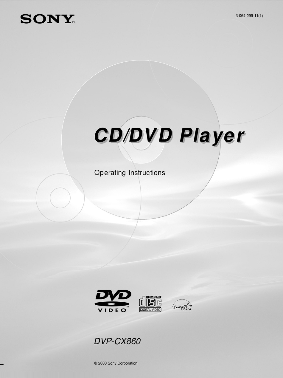 Sony Dvp Cx860 Operating Instructions Manual Pdf Download Manualslib