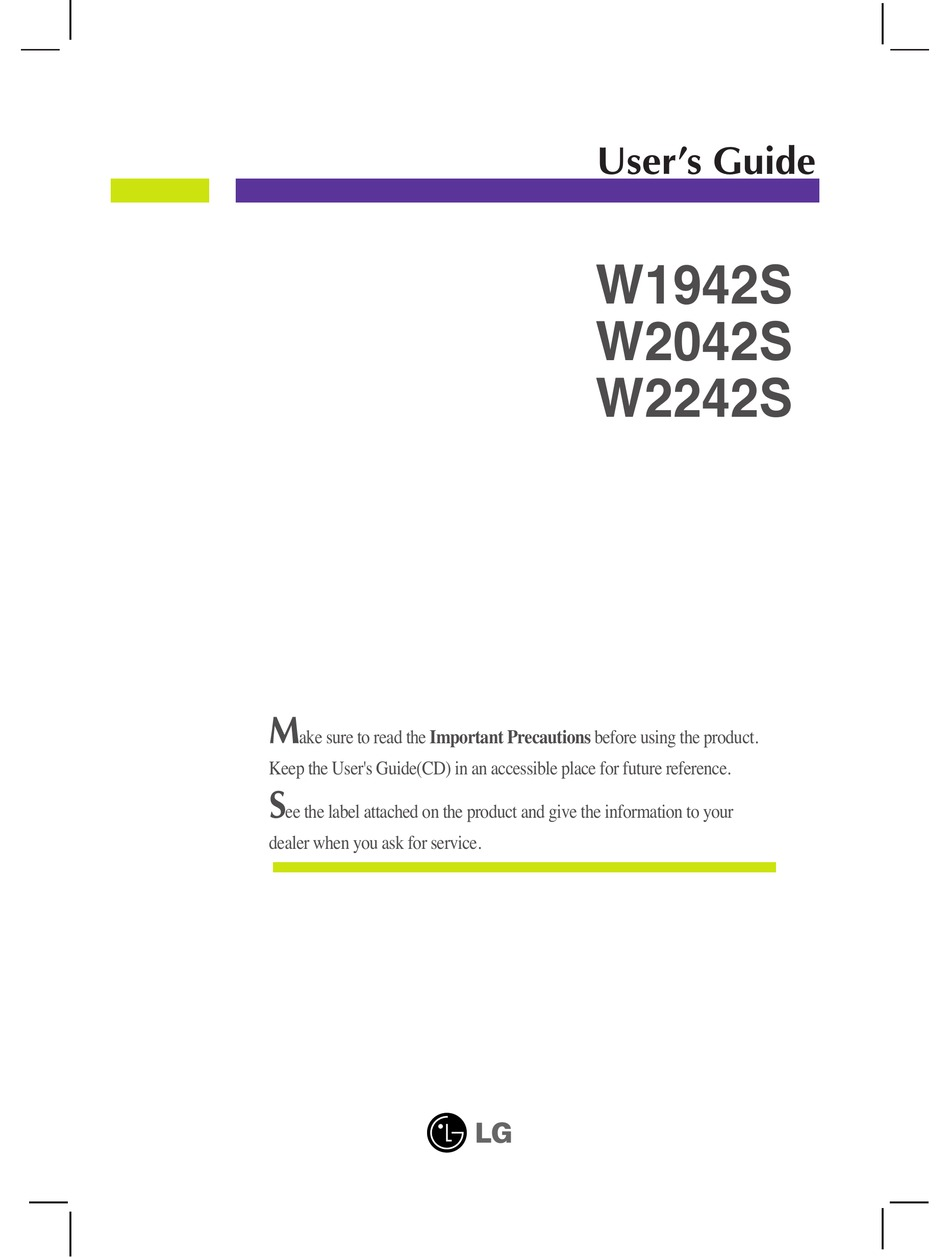 Lg W1942s User Manual Pdf Download Manualslib
