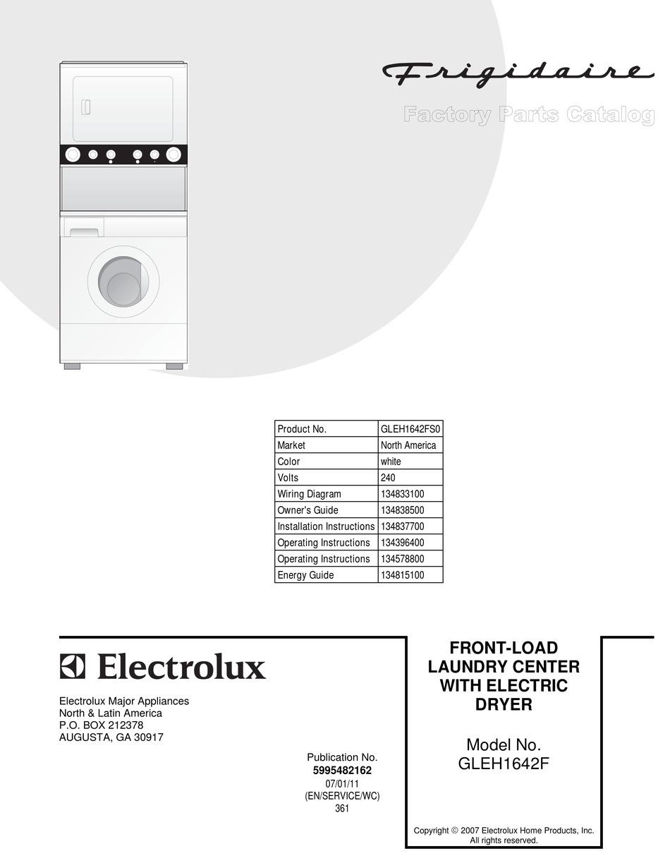 Frigidaire Gleh1642f Factory Parts Catalog Pdf Download Manualslib