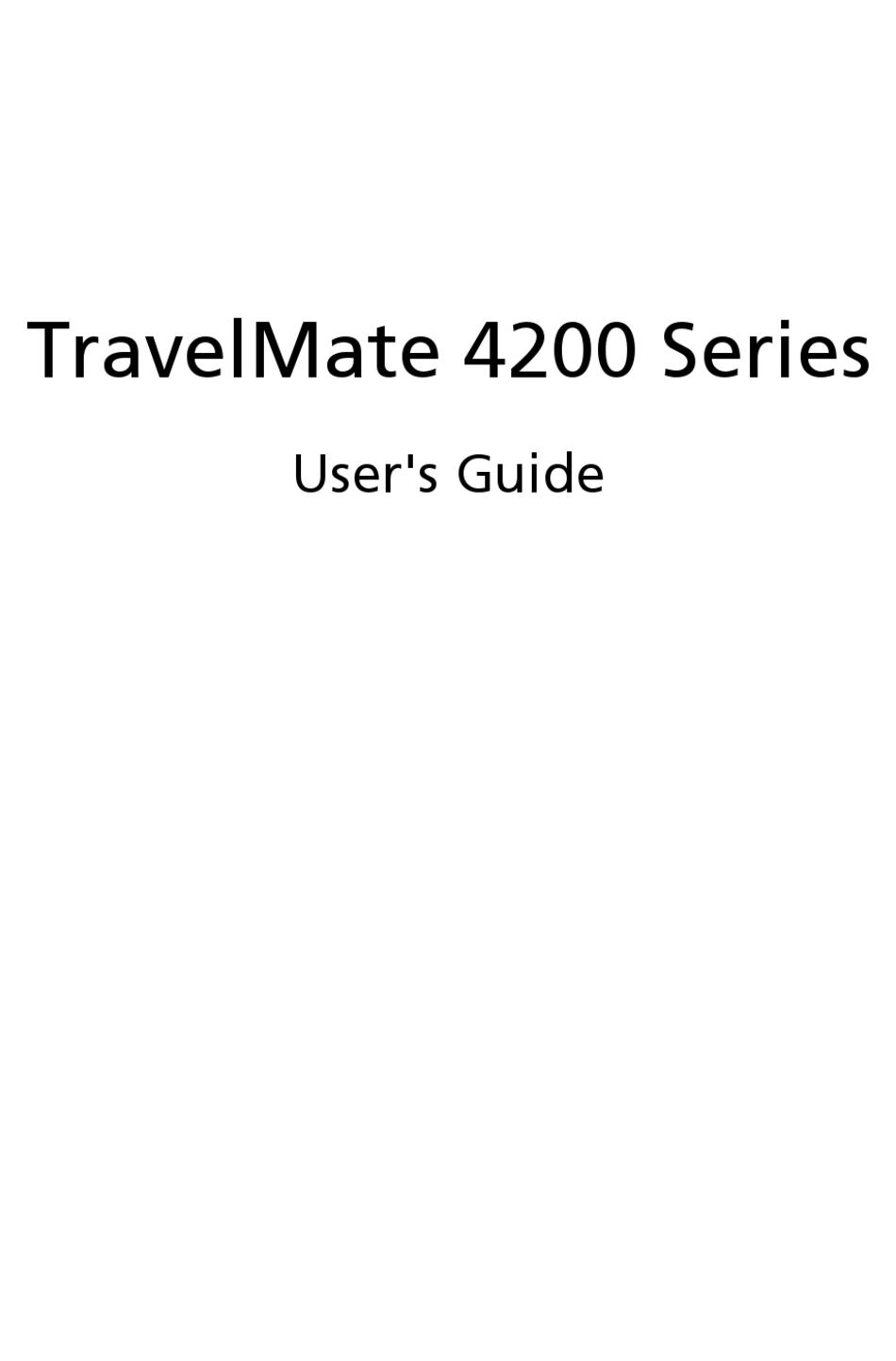Acer Travelmate 4200 Series User Manual Pdf Download Manualslib