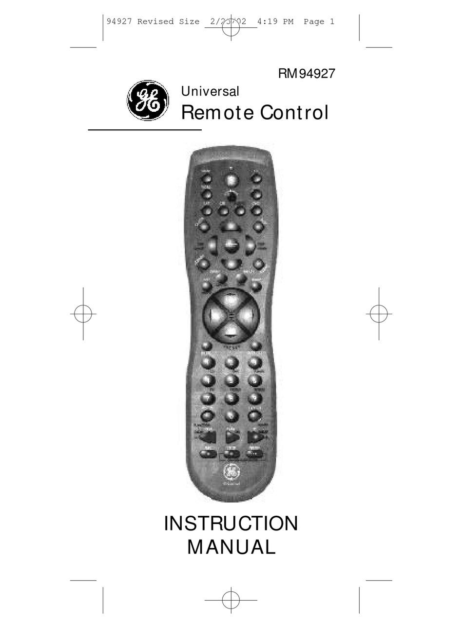 Ge Universal Remote 94927 Codes
