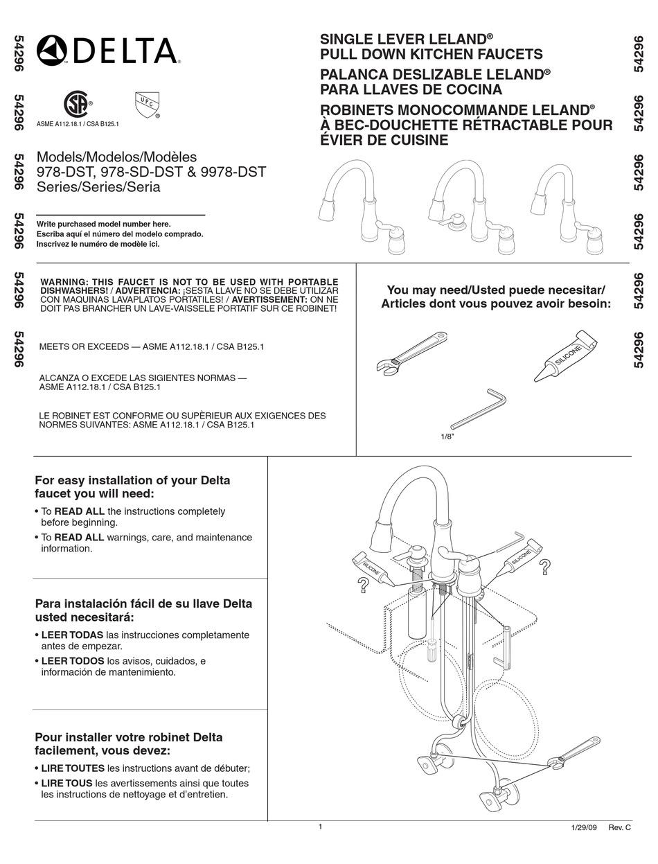 Delta 978 Sd Dst Series Installation Manual Pdf Download Manualslib