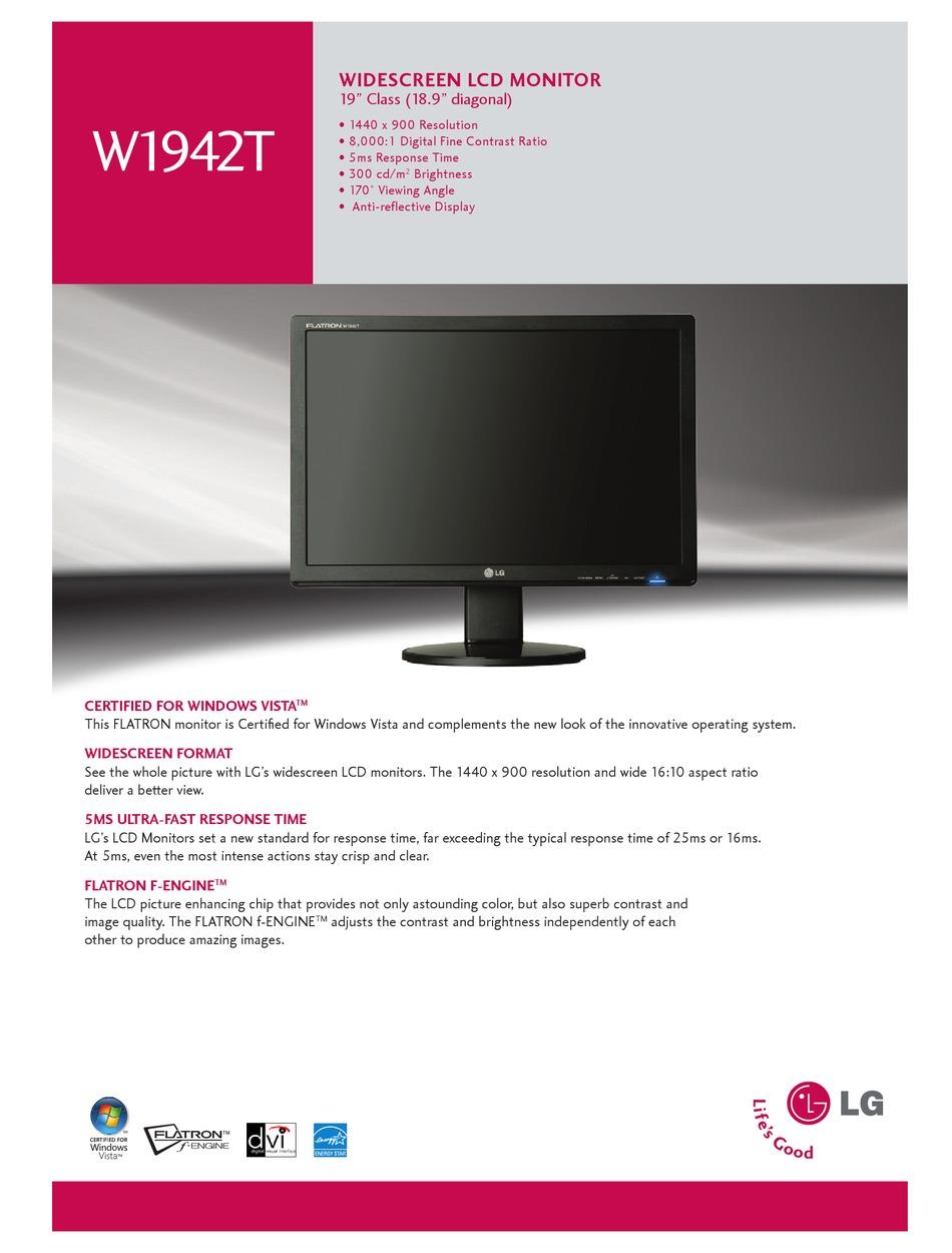 Lg W1942t Specification Sheet Pdf Download Manualslib