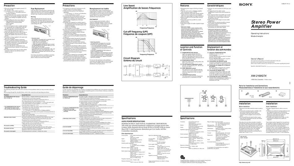 sony xplod xm2100gtx operating instructions pdf download