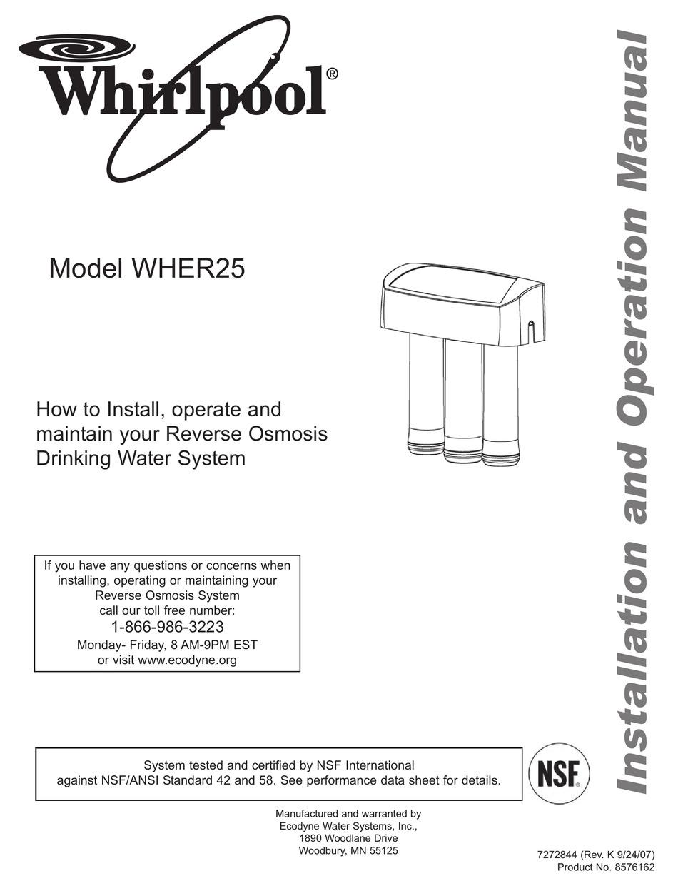 Whirlpool reverse osmosis model tp 12 manual download