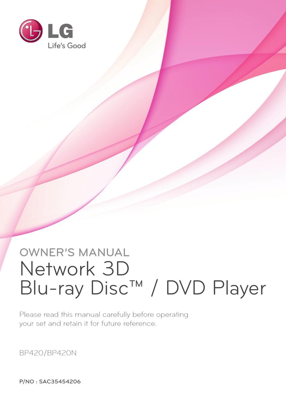 Lg Bp420 Owner S Manual Pdf Download Manualslib