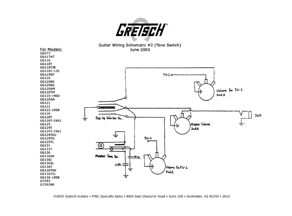 gretsch g6073 wiring schematic pdf download  manualslib