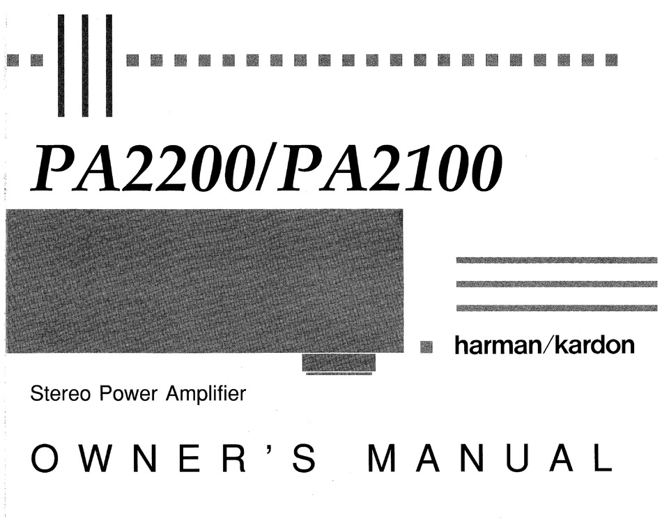 Harman Kardon Pa2100 Owner S Manual Pdf Download Manualslib