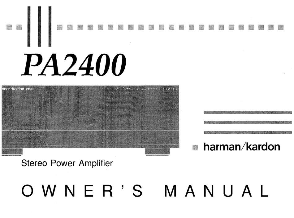 Harman Kardon Pa2400 Owner S Manual Pdf Download Manualslib