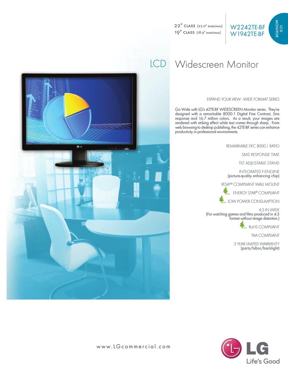 Lg W1942te Specifications Pdf Download Manualslib