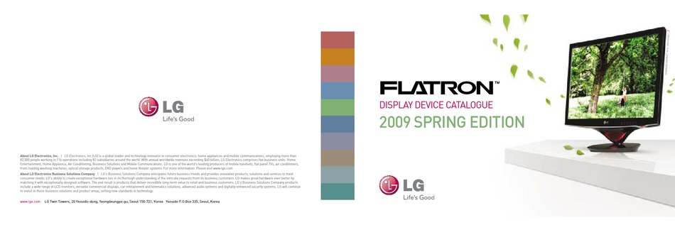 Lg Flatron W2053tq Catalogue Pdf Download Manualslib