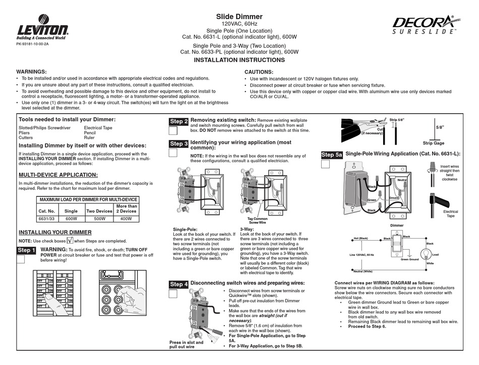leviton 6631l installation instructions pdf download