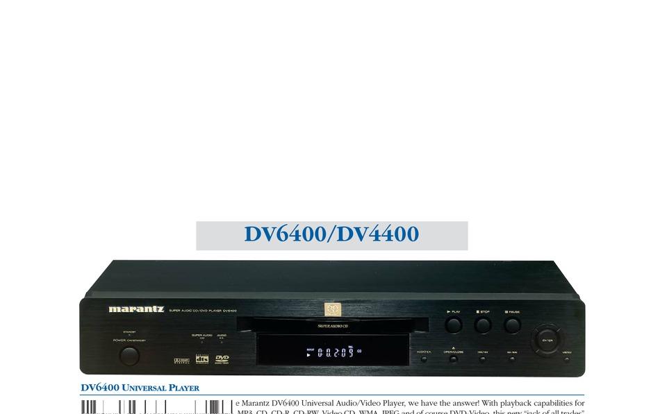 Marantz Dv4400 Specifications Pdf Download Manualslib