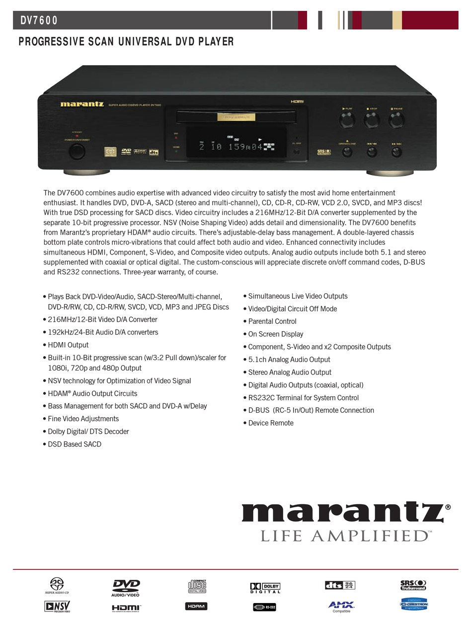 Marantz Dv7600 Specifications Pdf Download Manualslib