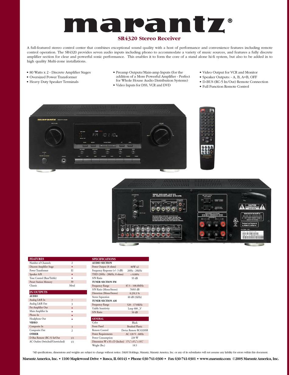 Marantz Sr4320 Specification Sheet Pdf Download Manualslib