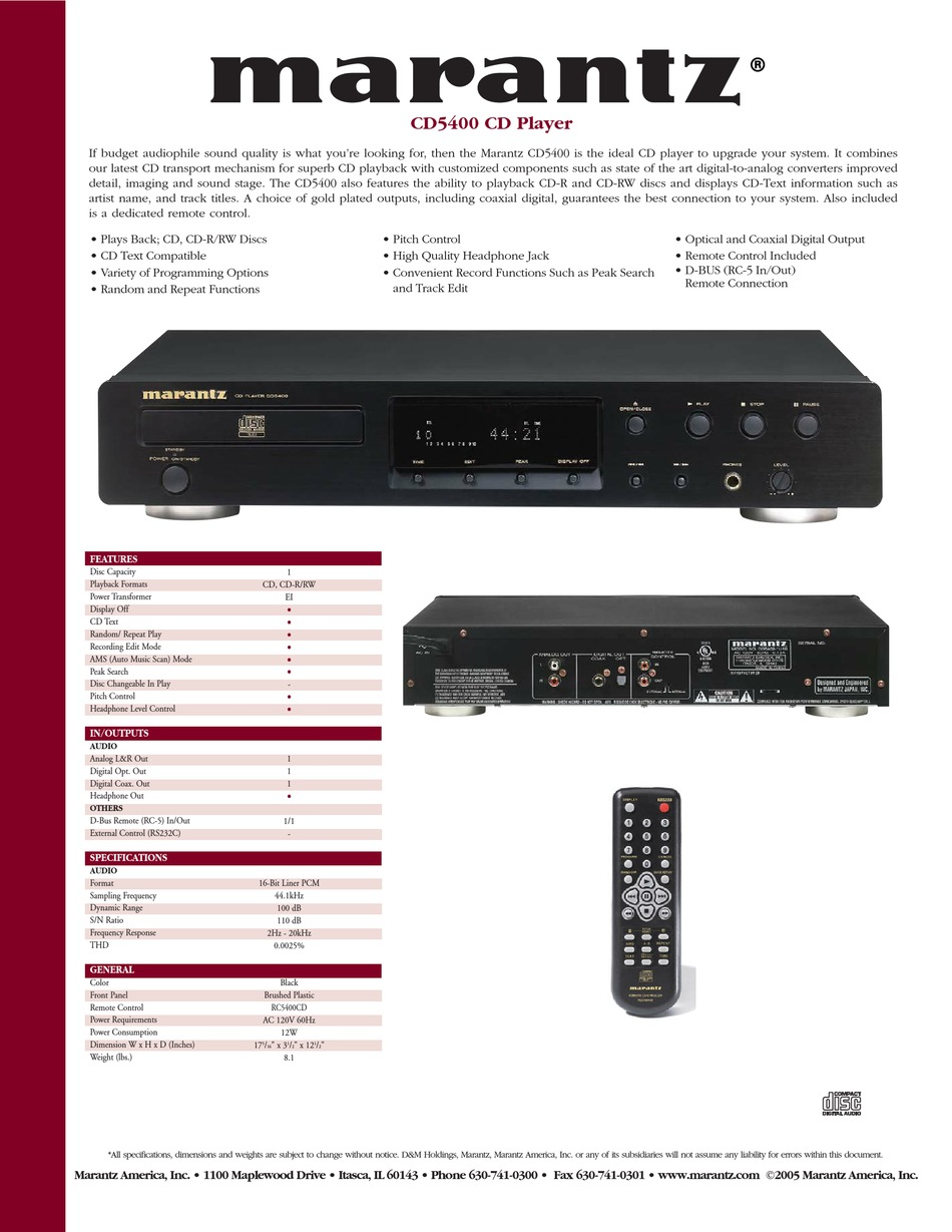 Marantz Cd5400 Specifications Pdf Download Manualslib