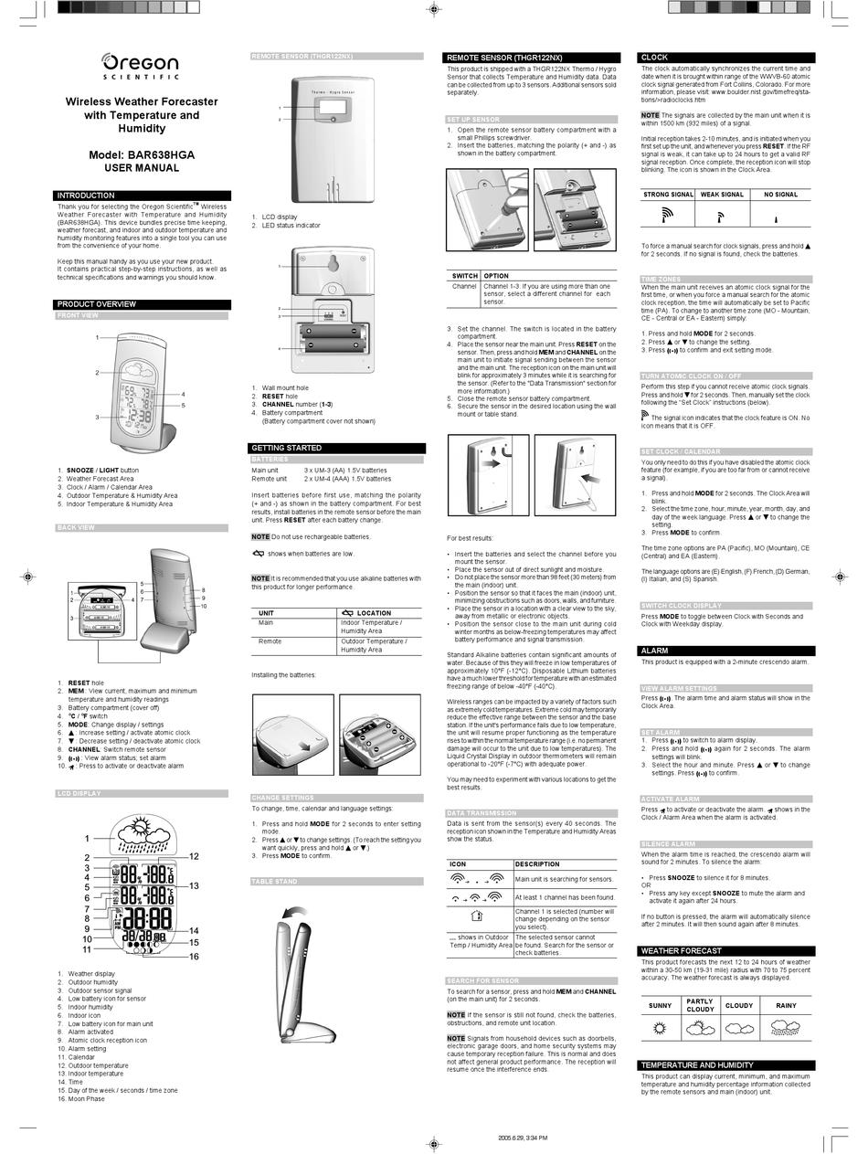 Oregon Scientific Bar638hga User Manual Pdf Download Manualslib