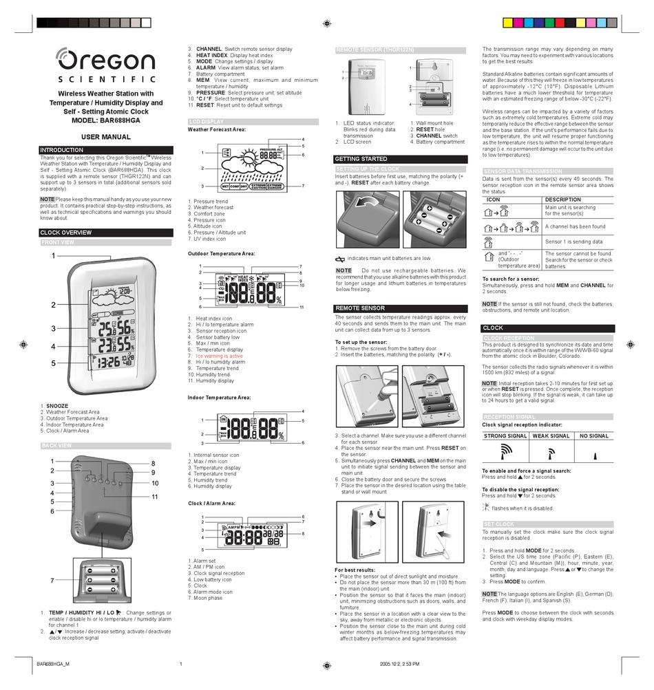 Oregon Scientific Bar688hga User Manual Pdf Download Manualslib