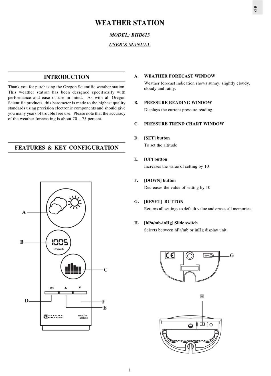 Oregon Scientific Bar626 User Manual Pdf Download Manualslib