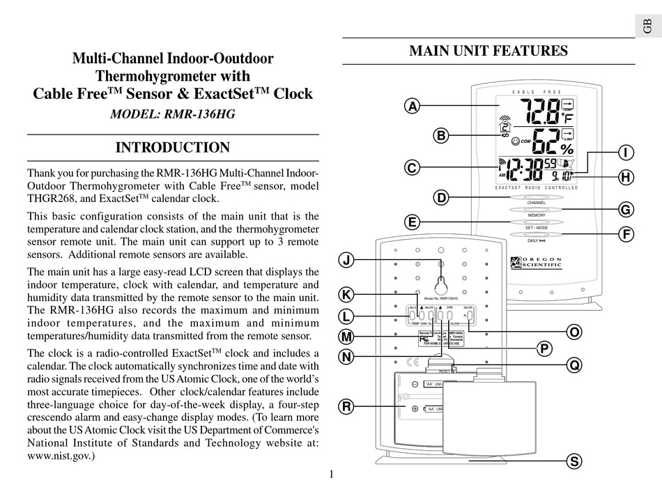 Oregon Scientific Rmr 136hg User Manual Pdf Download Manualslib