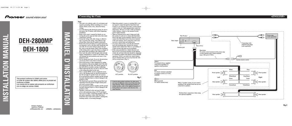 pioneer deh1800 installation manual pdf download