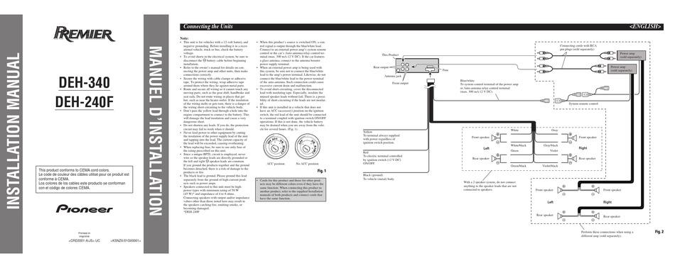 Pioneer Deh 240f Installation Manual