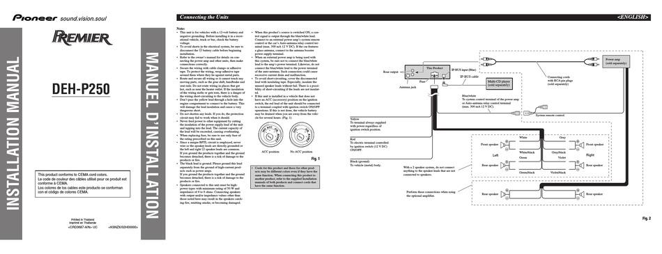 Pioneer Deh P250 Installation Manual, Pioneer Premier Wiring Diagram