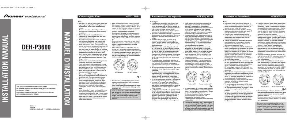 pioneer dehp3600 installation manual pdf download  manualslib