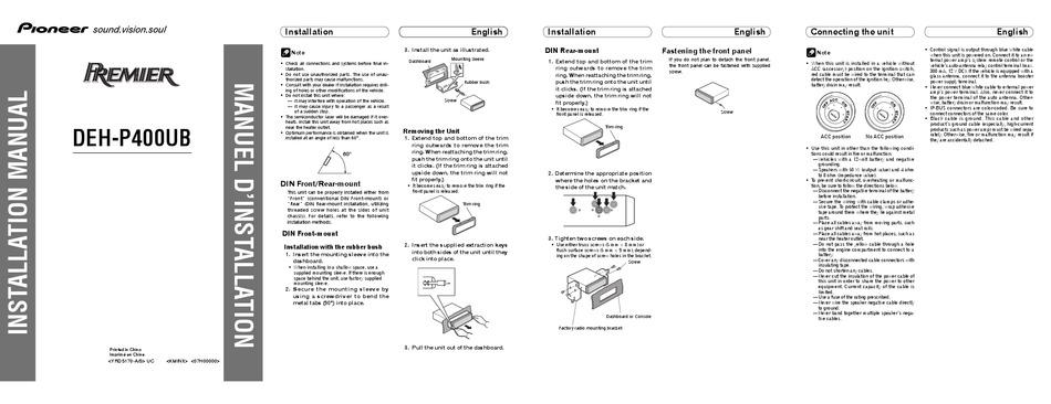 pioneer premier dehp4000ub installation manual pdf download