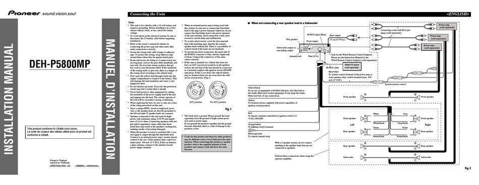 Pioneer Deh P5800mp Installation Manual Pdf Download Manualslib