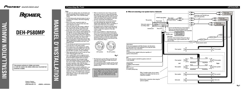 Pioneer Deh P580mp Installation Manual, Pioneer Premier Wiring Diagram
